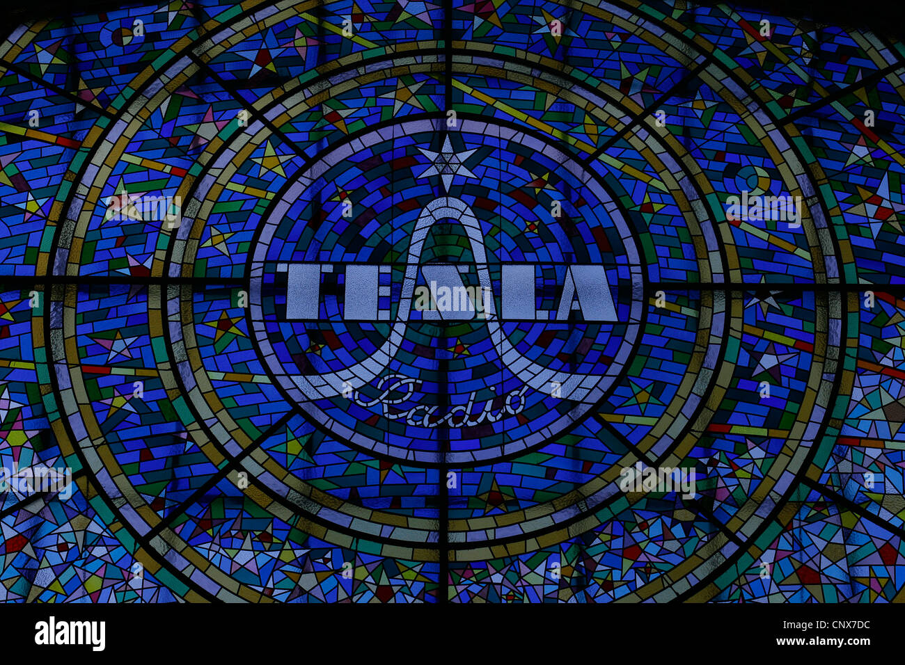 Stained glass with the logo of tesla radio in the passage svtozor stained glass with the logo of tesla radio in the passage svtozor in nov msto prague czech republic buycottarizona Gallery
