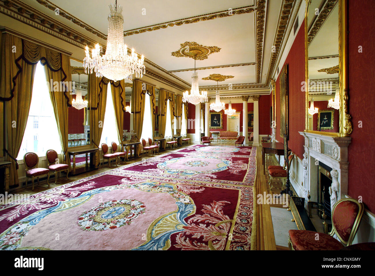 the drawing room, dublin castle, dublin, ireland stock photo