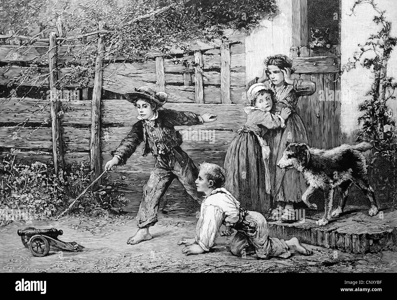 Whalers in action wood engraving published in 1855 stock illustration - Children Playing With A Toy Cannon Historic Wood Engraving About 1888 Stock Image