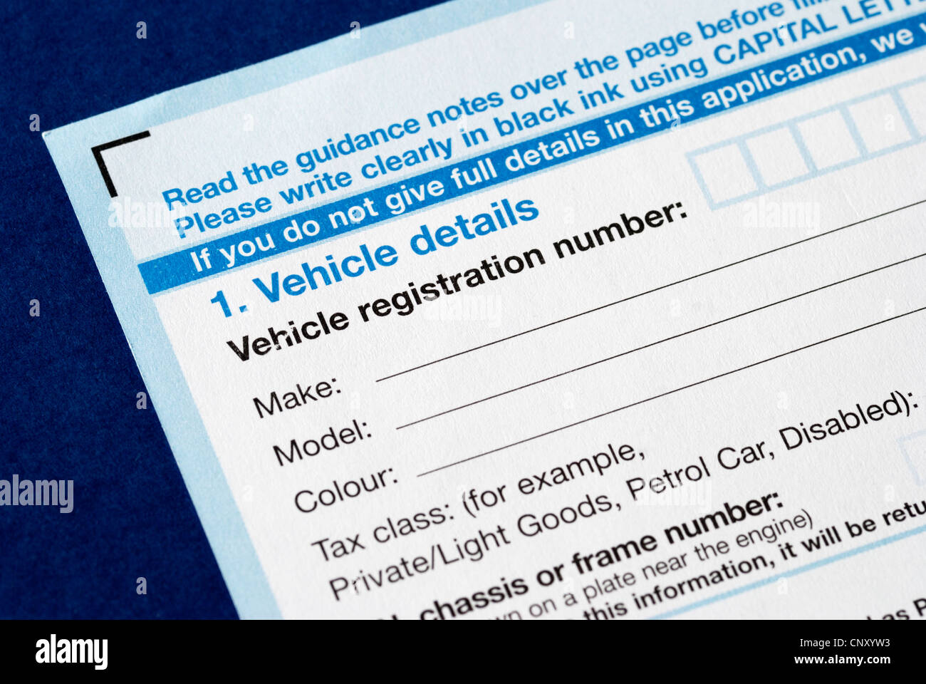 UK Vehicle registration form Stock Photo, Royalty Free Image ...