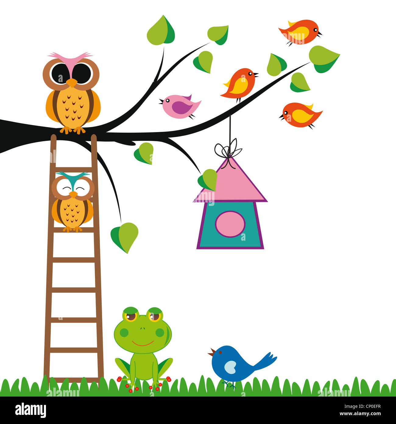cute kids background with trees and birds stock photo royalty