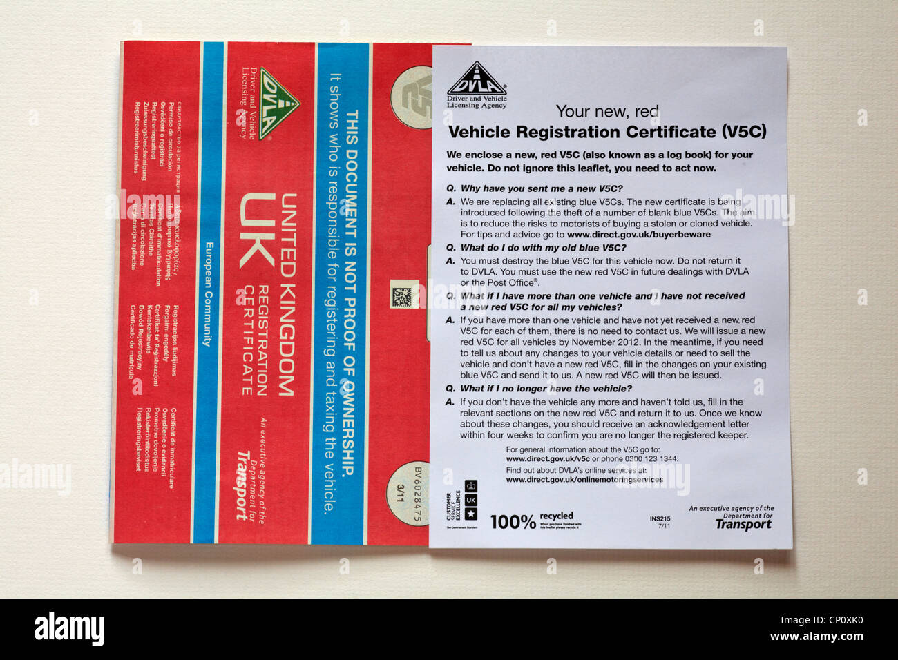 New red vehicle registration certificate v5c document with new red vehicle registration certificate v5c document with covering letter isolated on white background xflitez Images