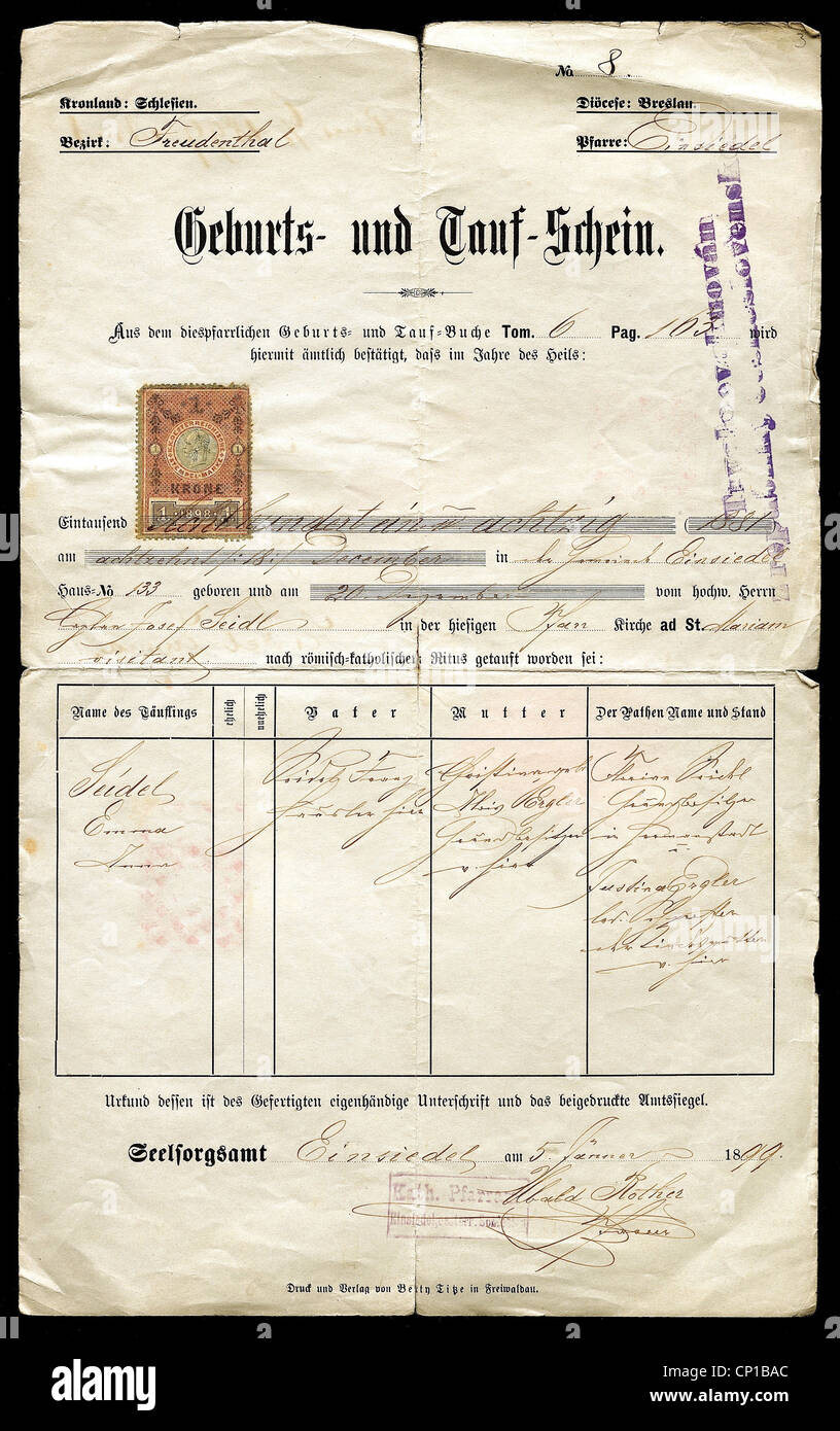 Documents birth and christening certificate catholic parish of documents birth and christening certificate catholic parish of einsiedel breslau diocese silesia 511899 austria hungary 1betcityfo Images