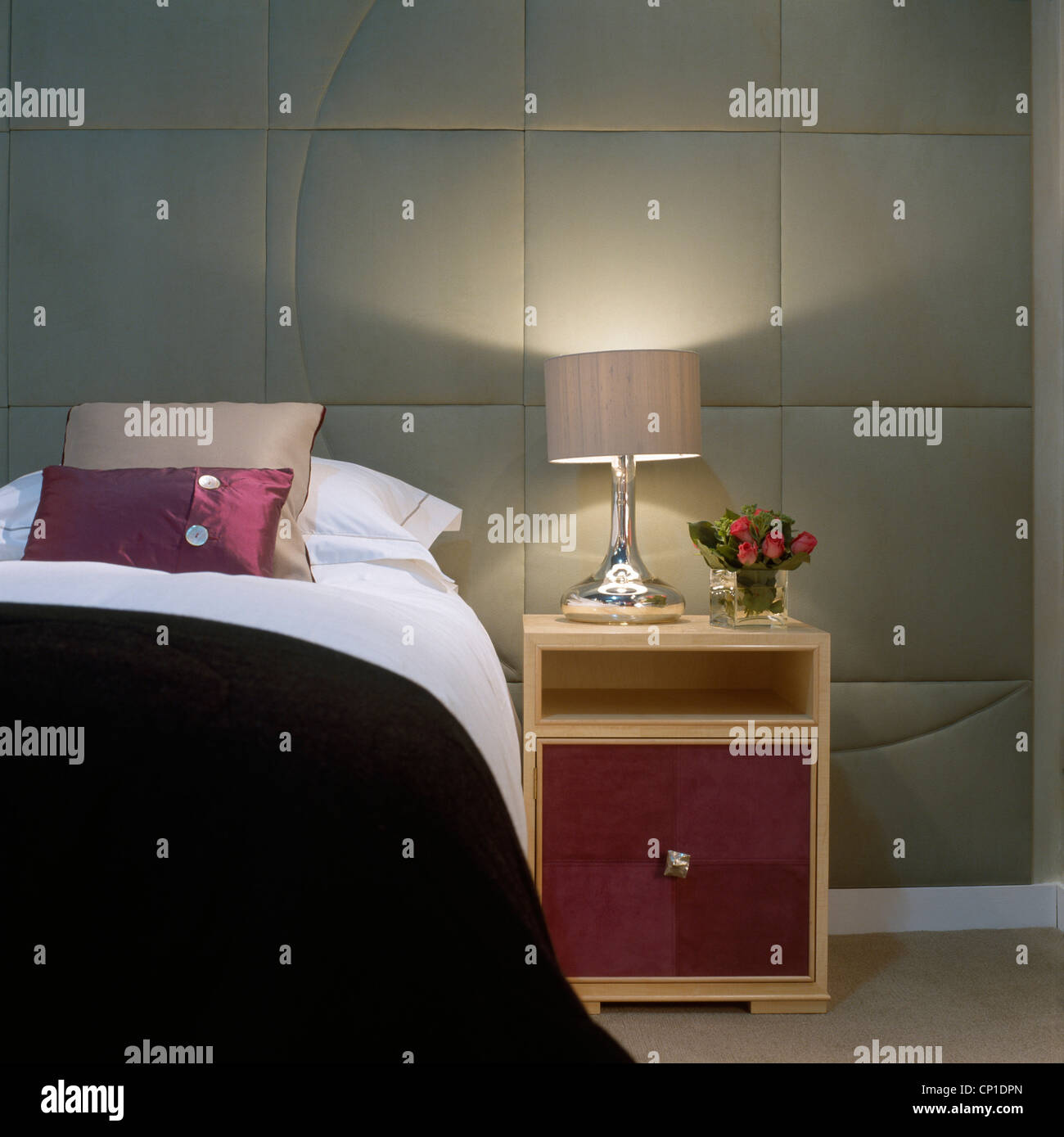 Bon Lit Lamp On Bedside Table Next To Double Bed In Modern Bedroom