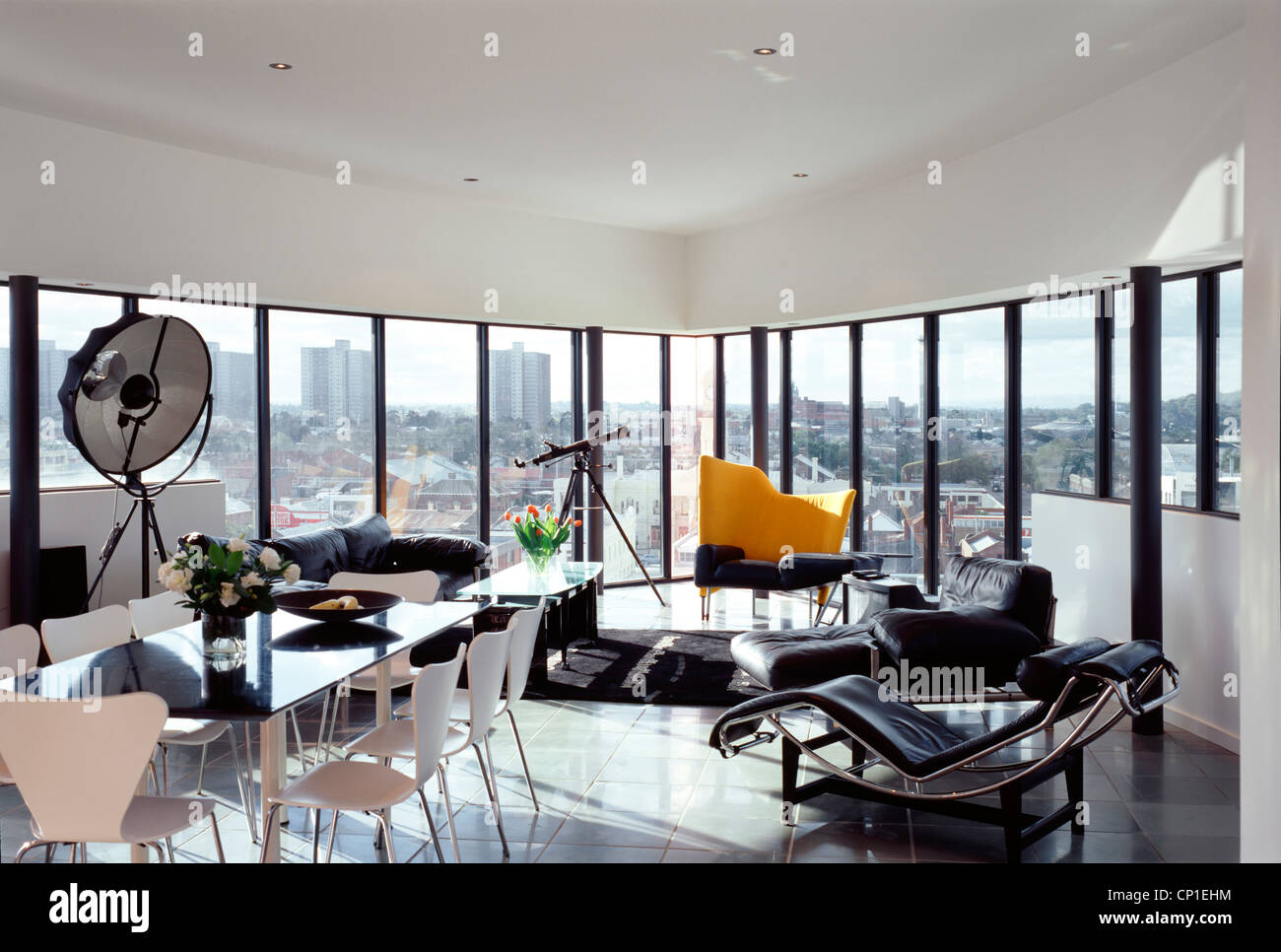 open plan living and dining room, richmond silos, melbourne stock