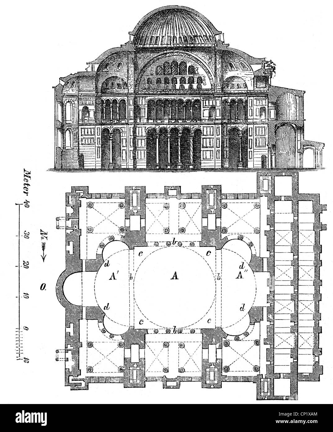 architecture, ground plans, Hagia Sophia, Istanbul, built ...