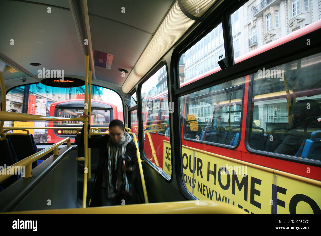 Inside view of London Double Decker Bus[Editorial only ...