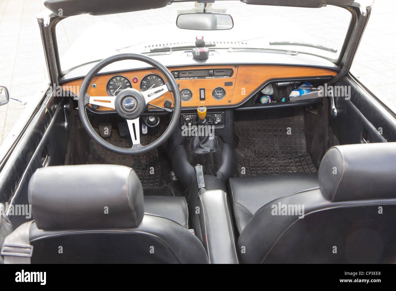 Vintage race car TRIUMPH Spitfire MK I interior from 1964 Stock ...