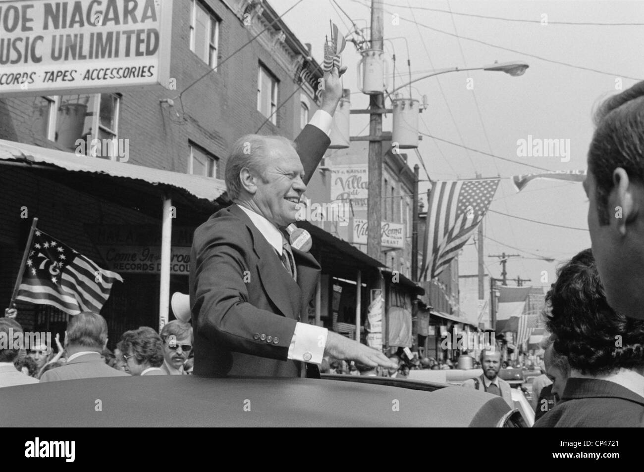 ford president car. president gerald ford campaigns from the sunroof of a car in philadelphia. sept. 1976 d