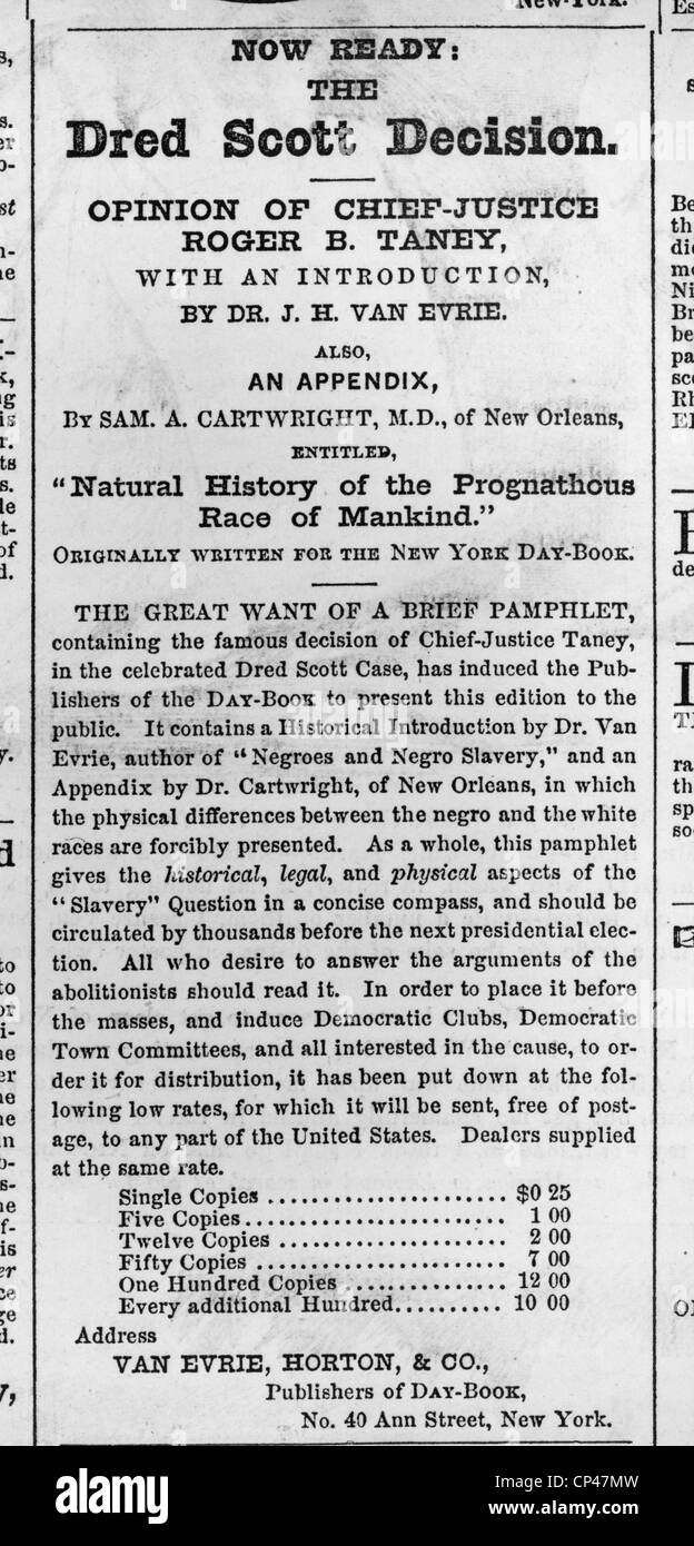 Advertisement for pamphlet of the Supreme Court's Dred Scott Stock ...