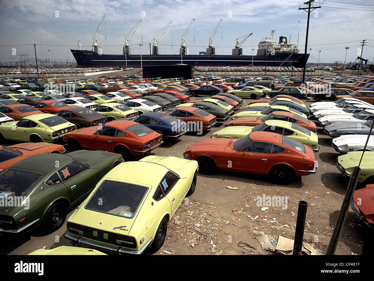 Imported Japanese Cars On The Pier In An American Port These