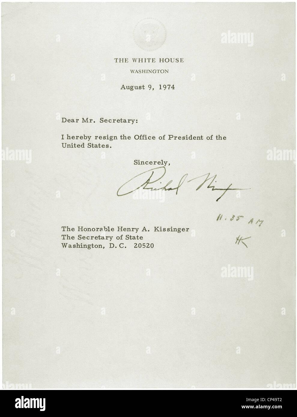 President Nixonu0027s Letter Of Resignation Was Addressed To Secretary Of State  Henry Kissinger. Aug. 9. 1974  Nixon Resignation Letter