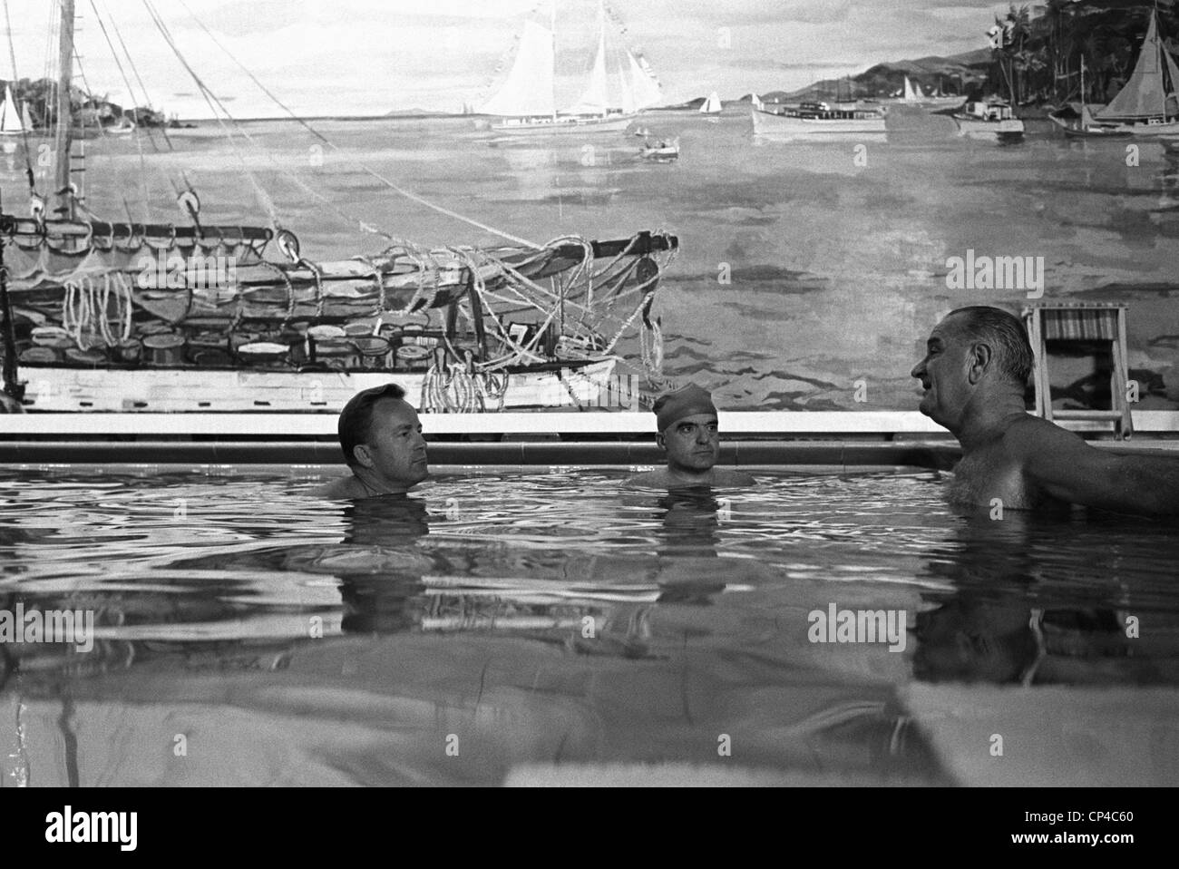 Lbj In The White House Swimming Pool Lloyd Hand Jack Valenti Stock Photo Royalty Free Image