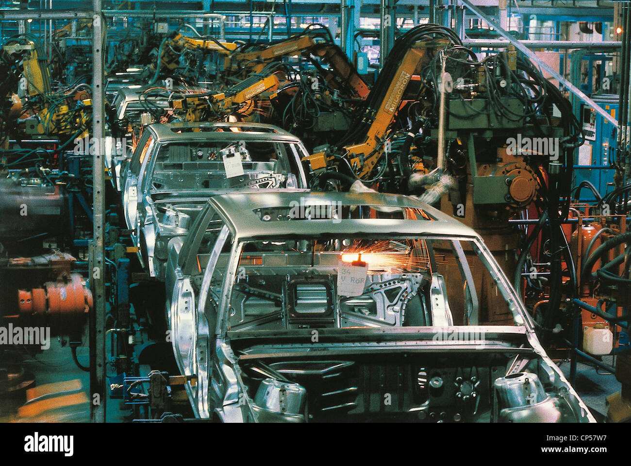 Volvo Gothenburg Sweden Auto Industry On A Line Of Welding Robots Stock Photo: 48059123 - Alamy