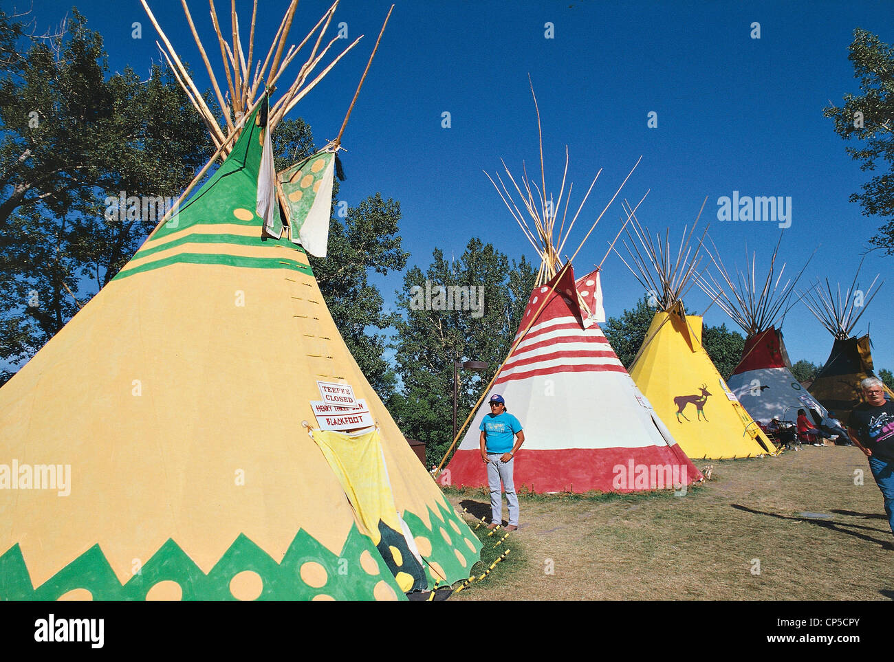 Canada - Alberta - Calgary - Indian tents at the festival with rodeo   Calgary St&ede & Canada - Alberta - Calgary - Indian tents at the festival with ...