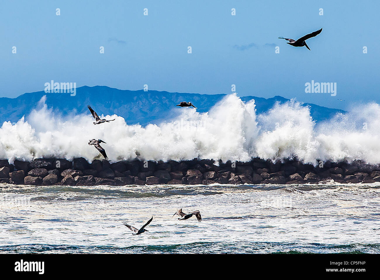 high-wind-and-waves-crashing-on-the-breakwater-and-jetty-in-oxnard-CP5FNP.jpg