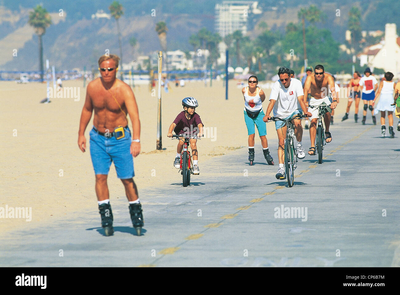 Roller skating los angeles - Stock Photo United States Of America Santa Monica California Los Angeles Children With Roller Skate Bike On Cycle Path Along Beach