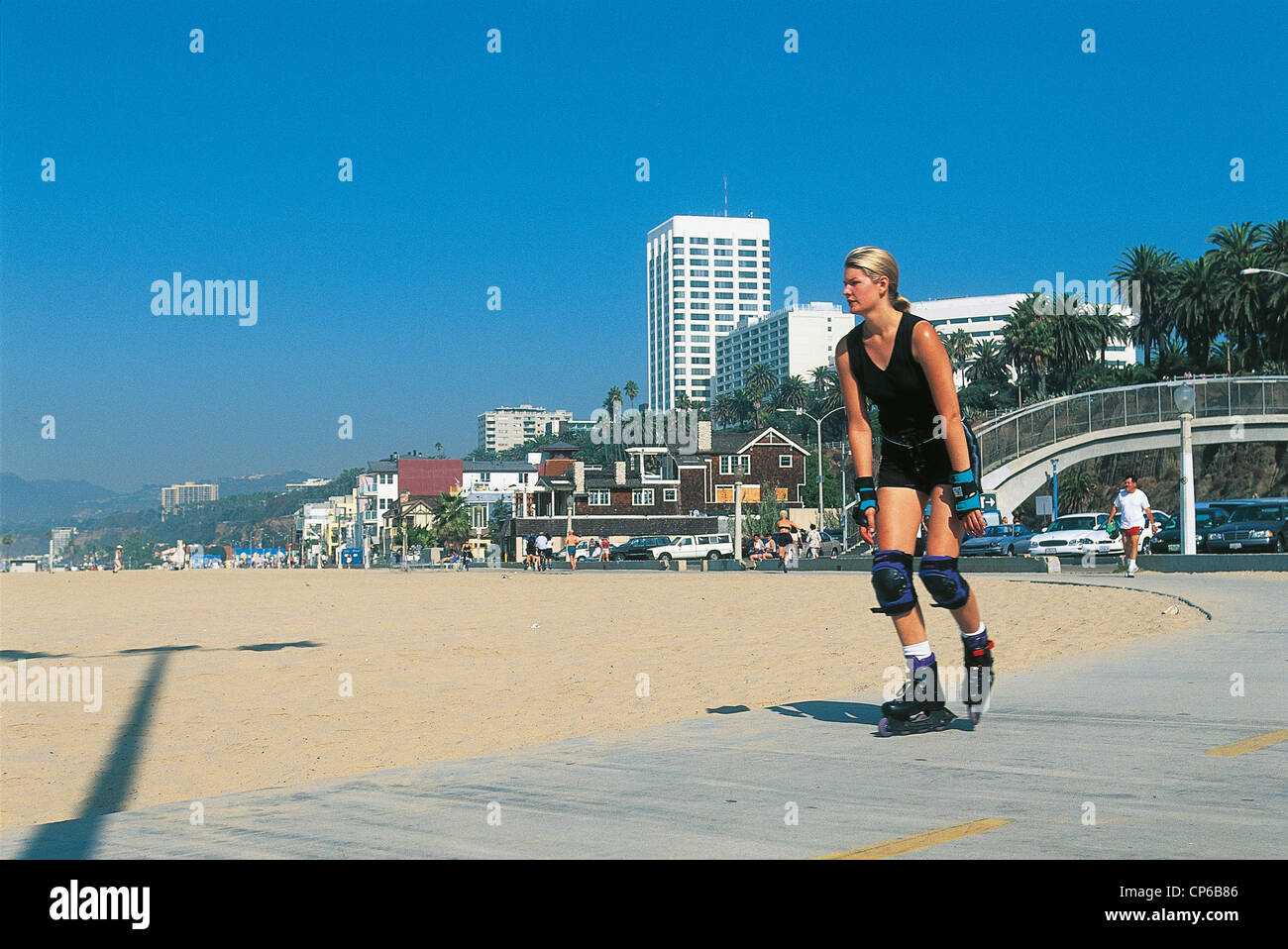 Roller skating los angeles - Stock Photo United States Of America California Los Angeles Santa Monica Roller Skate Girl With The Long Beach Cycle Path
