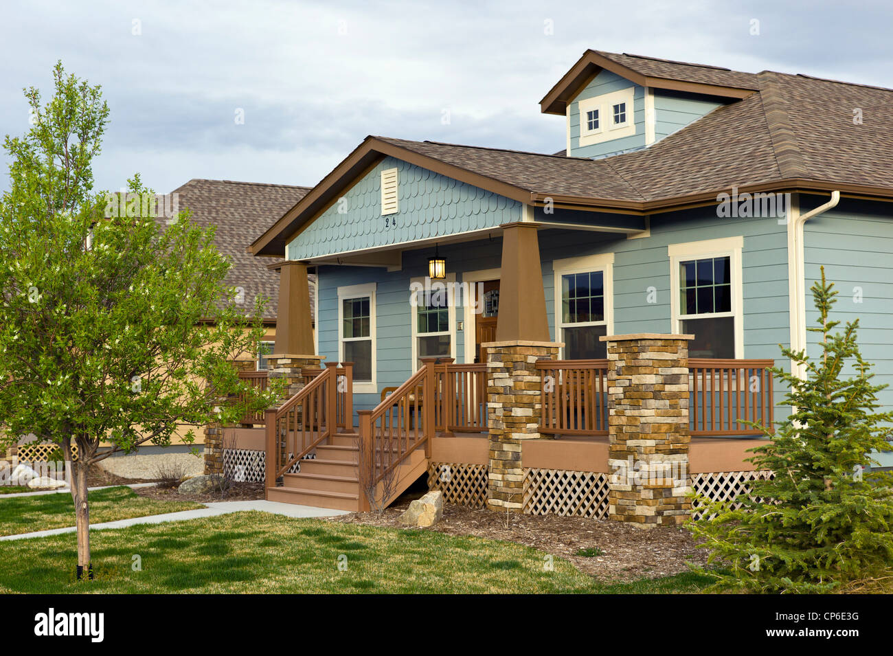 Craftsman style residential homes in colorado usa stock for Craftsman style log homes