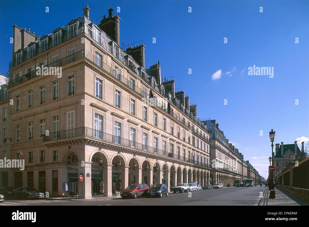 france paris rue de rivoli architects percier c fontaine et p stock photo royalty free. Black Bedroom Furniture Sets. Home Design Ideas