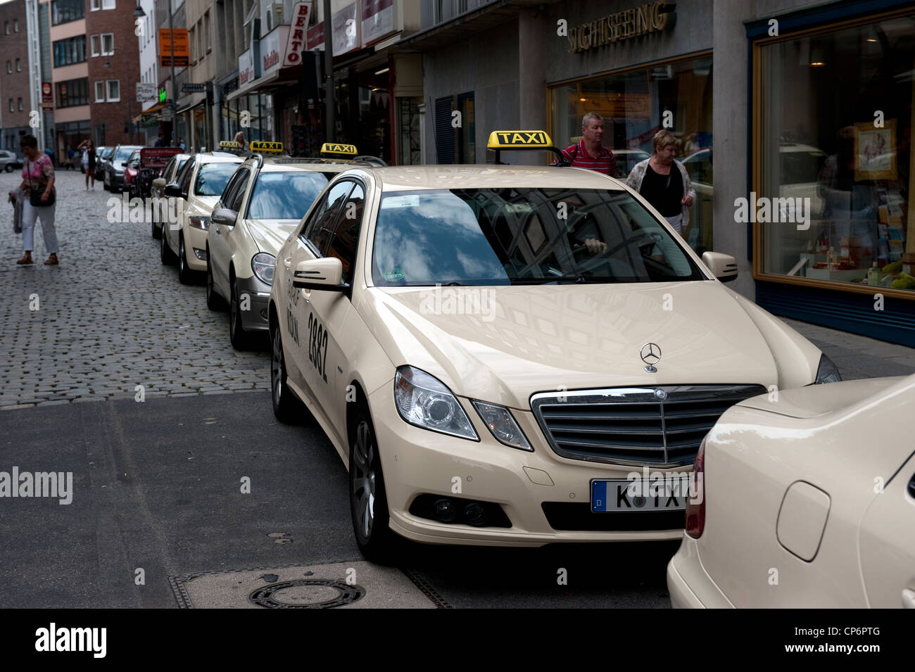 mercedes taxi cab car rank queue cologne germany europe eu stock photo royalty free image. Black Bedroom Furniture Sets. Home Design Ideas