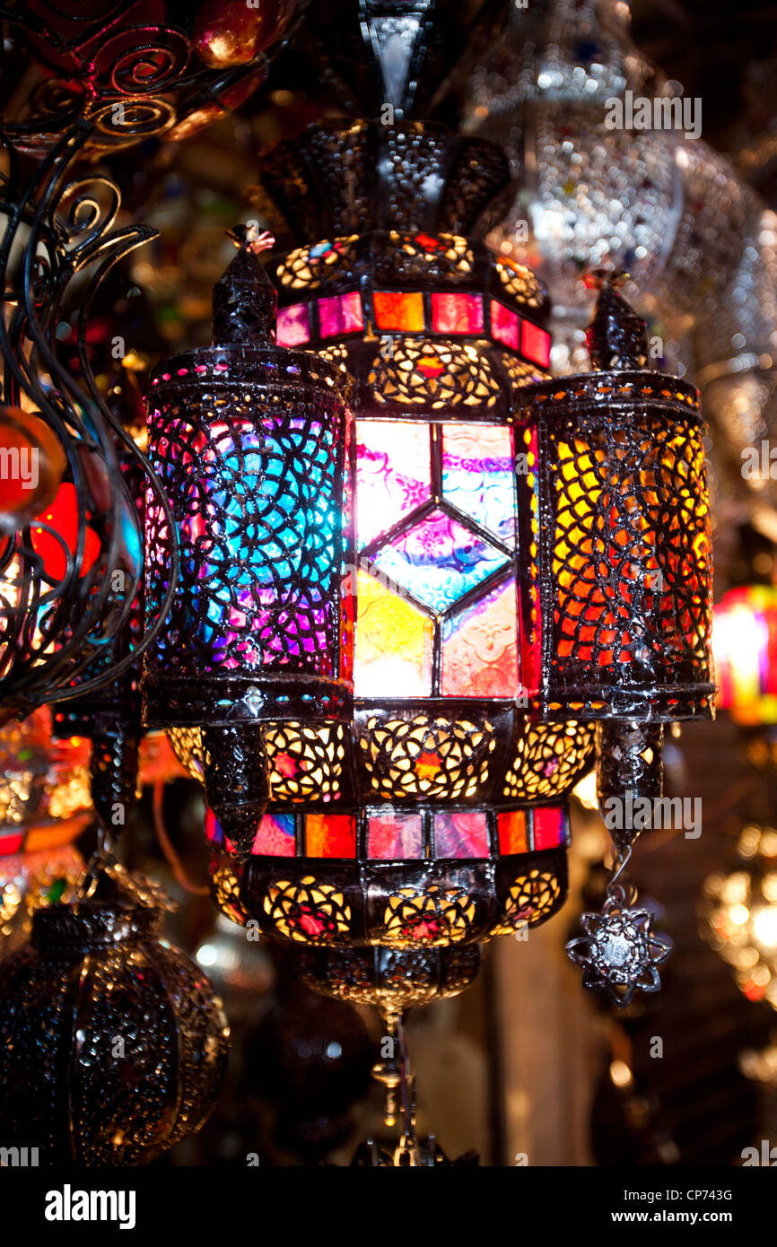 stock photo traditional moroccan lamps in a souk in marrakech morocco