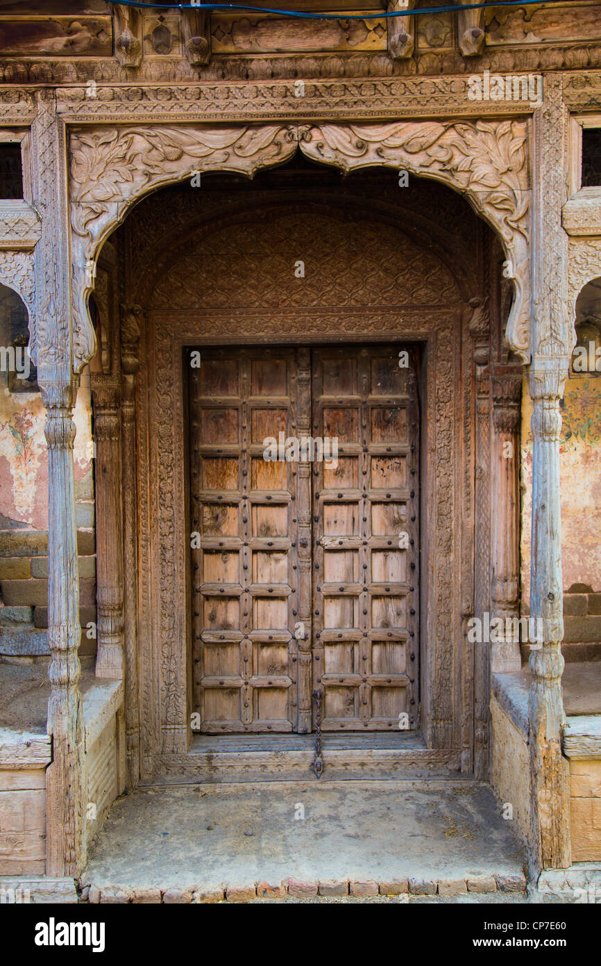 Traditional old carved wooden entrance in rhotas fort for Old wooden forts