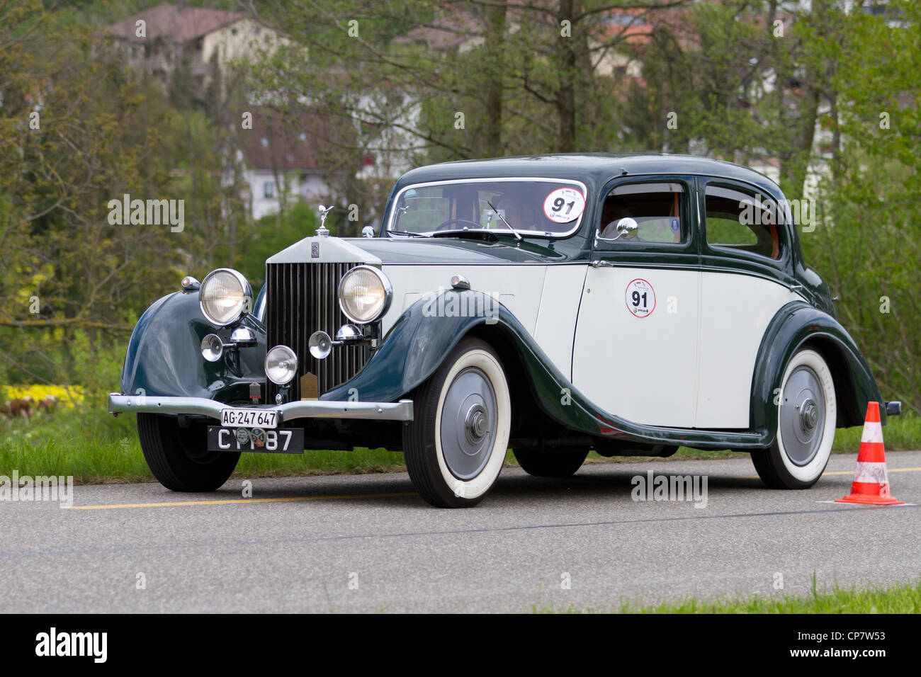 vintage pre war race car rolls royce 25 30 from 1936 at grand prix in stock photo royalty free. Black Bedroom Furniture Sets. Home Design Ideas