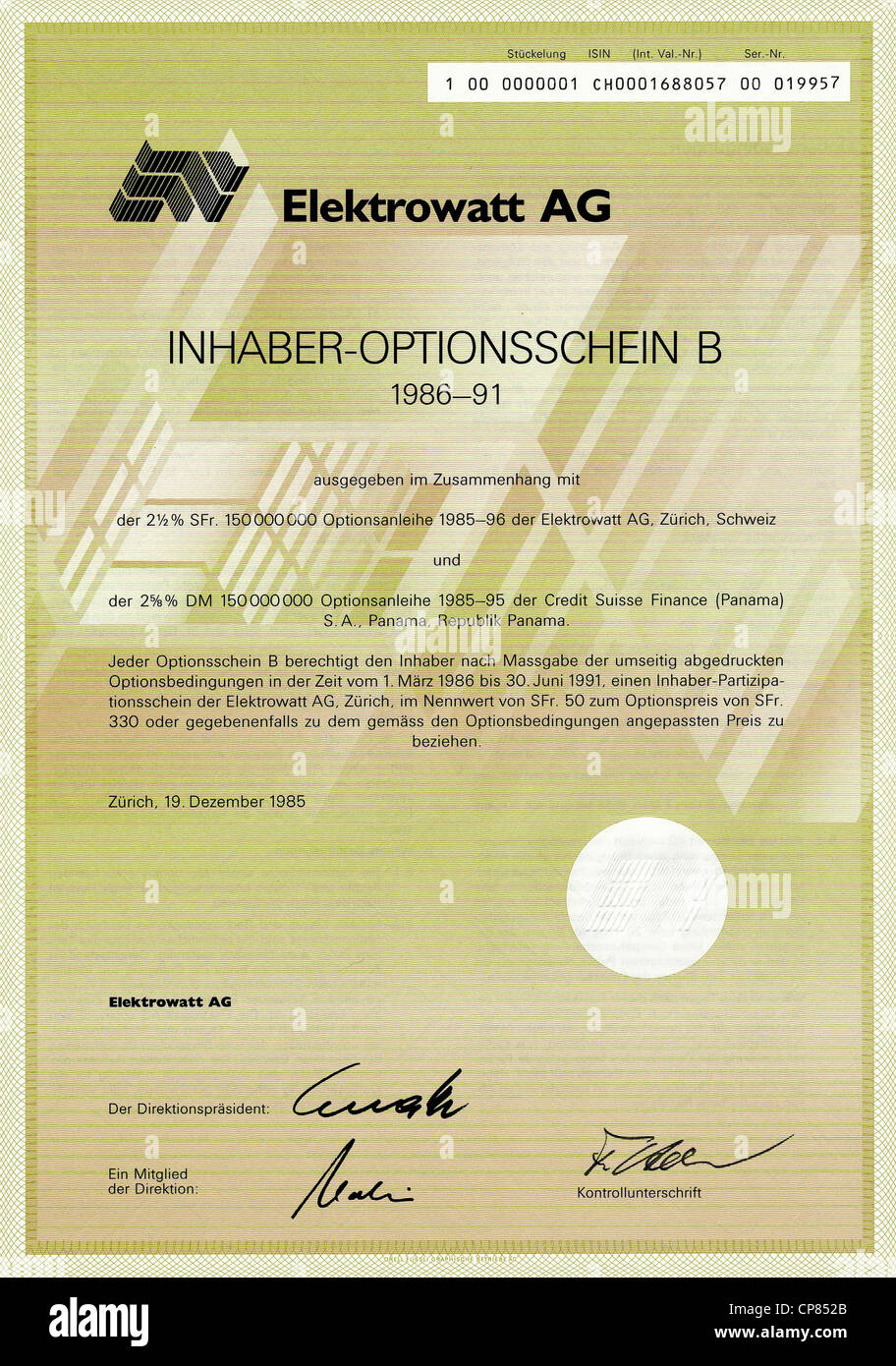Historic share certificate bearer warrant in german marks swiss historic share certificate bearer warrant in german marks swiss francs elektrowatt ag and credit suisse finance in panama zu xflitez Images