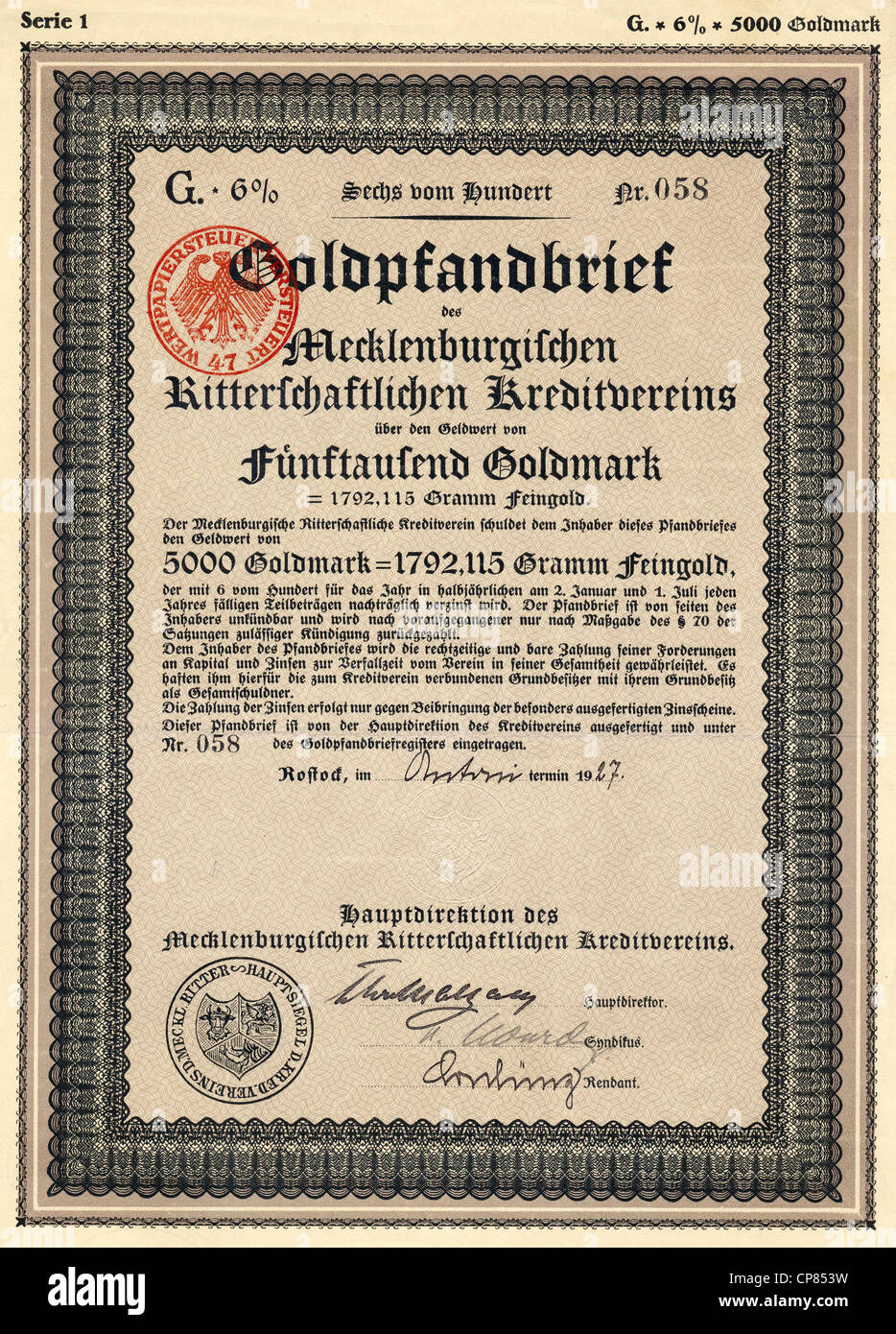 Historic security paper bond certificate for gold a credit stock historic security paper bond certificate for gold a credit cooperative 5000 gold marks rostock 1927 germany europe histo xflitez Choice Image