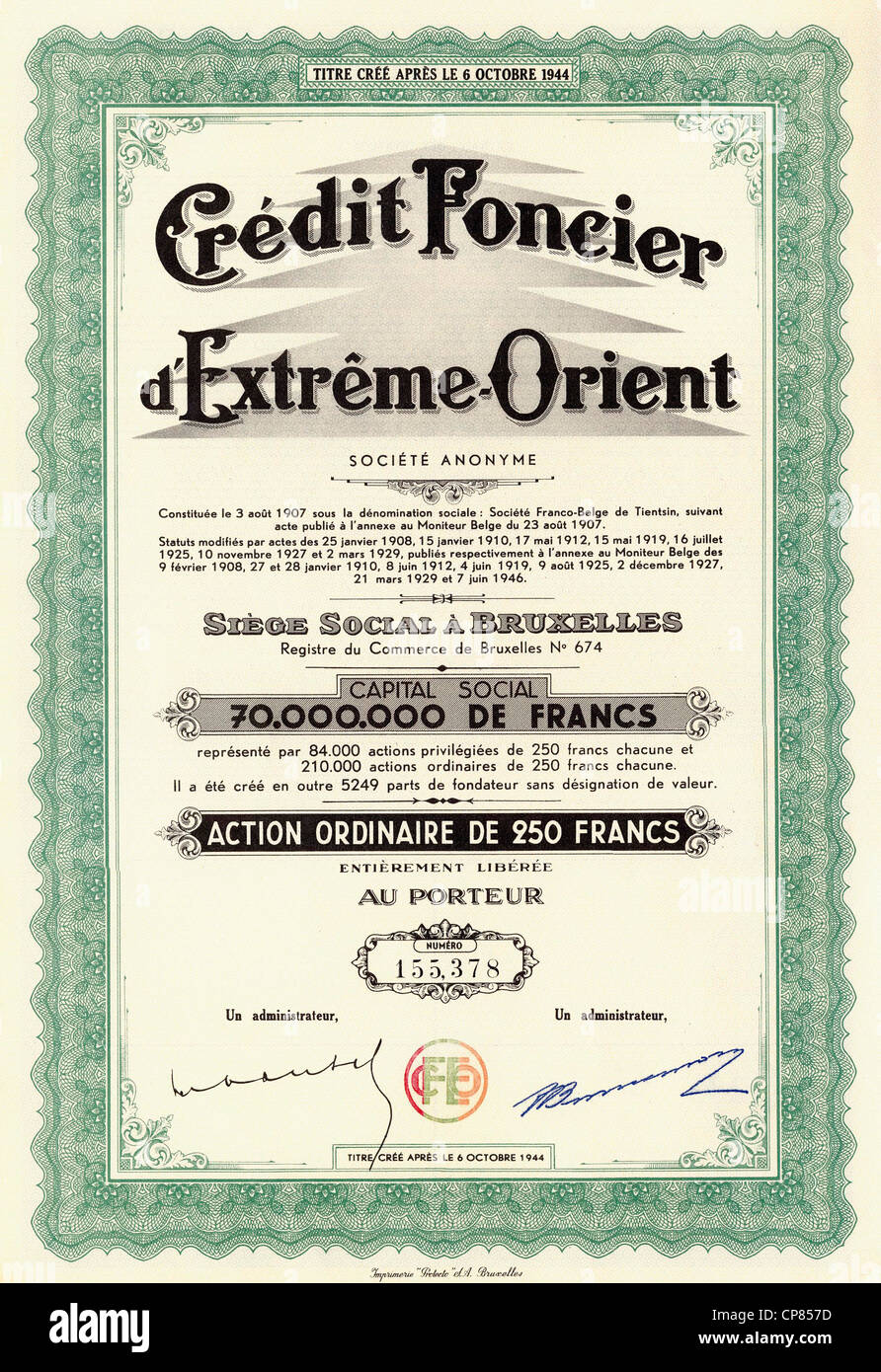 Historic stock certificate banking and finance credit foncier historic stock certificate banking and finance credit foncier dextreme orient 1946 250 belgian francs brussels belgium e xflitez Images