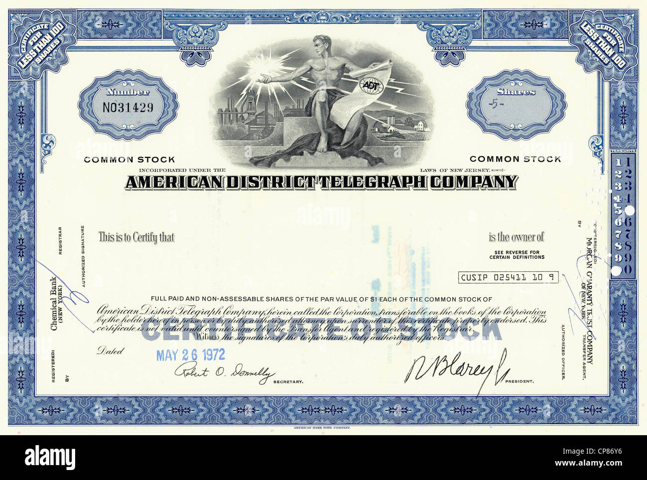 Historic Share Certificate American District Telegraph Company – Company Share Certificates