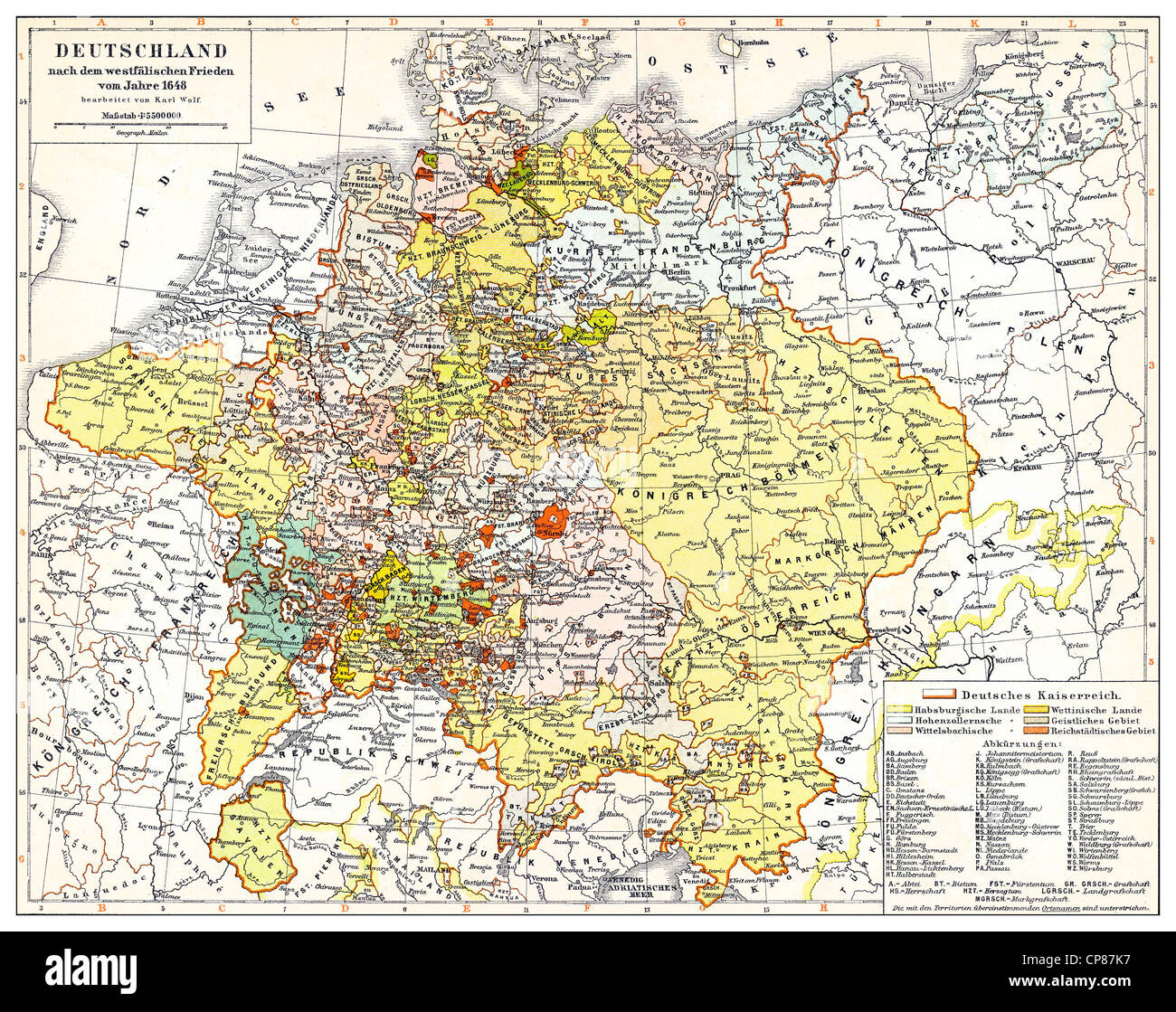 Historical Map Of Germany And Europe After The Peace Of Westphalia - Europe map 1648 westphalia