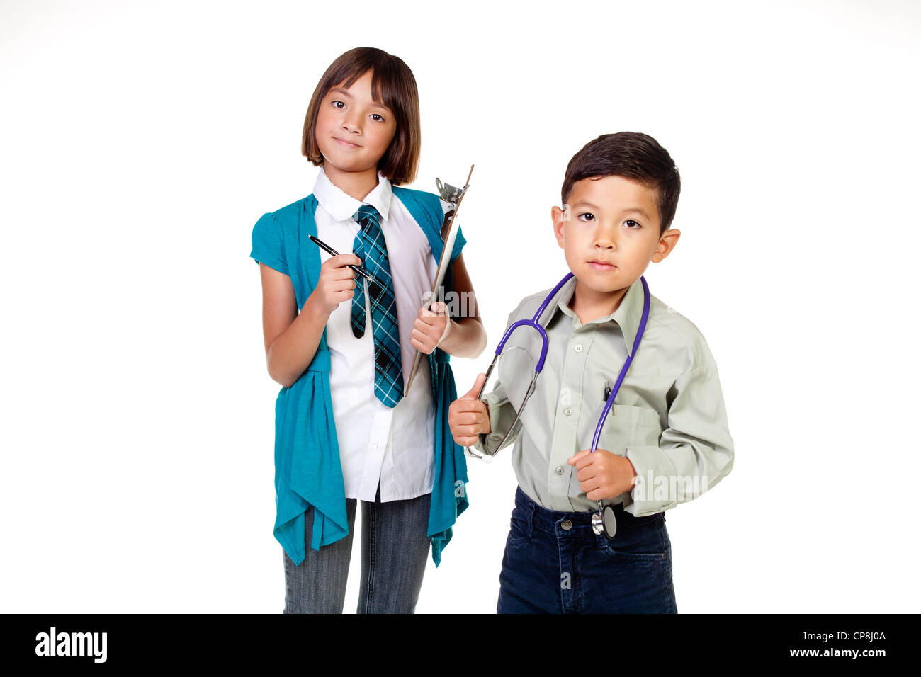 Boy and girl dress up as doctor and assistant Stock Photo, Royalty ...