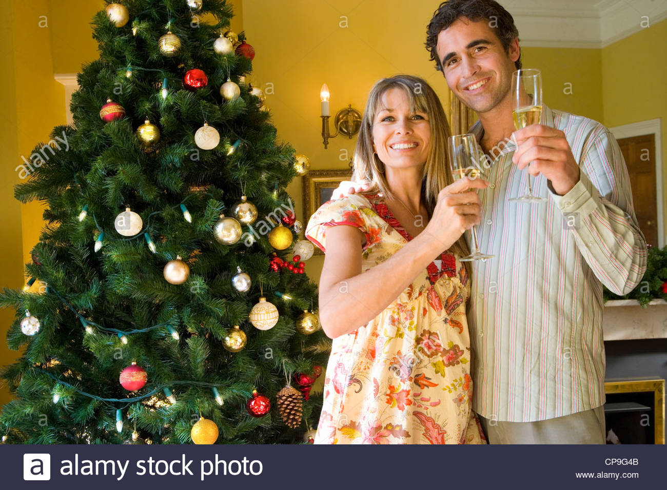 Couple with champagne flutes by Christmas tree, low angle view ...