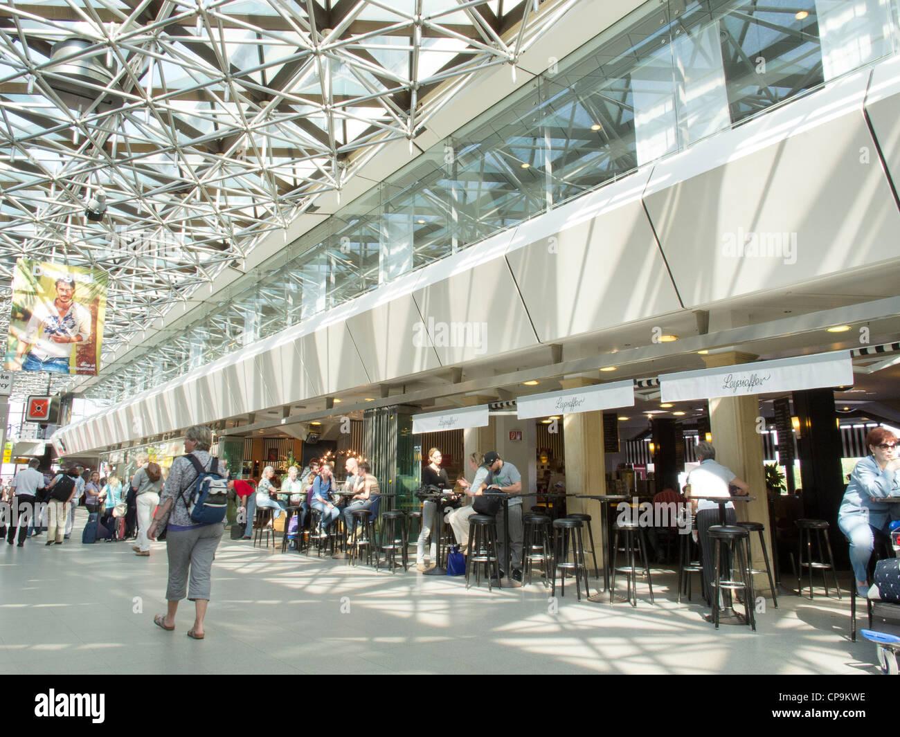 berlin tegel airport arrivals and departures area stock