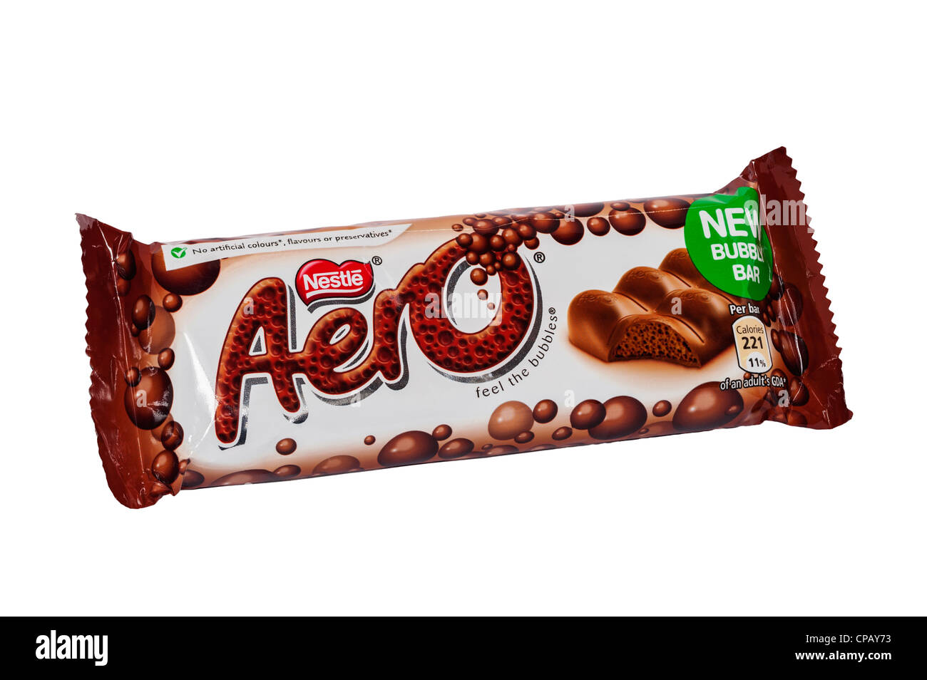 A Nestle Aero chocolate bar on a white background Stock Photo ...
