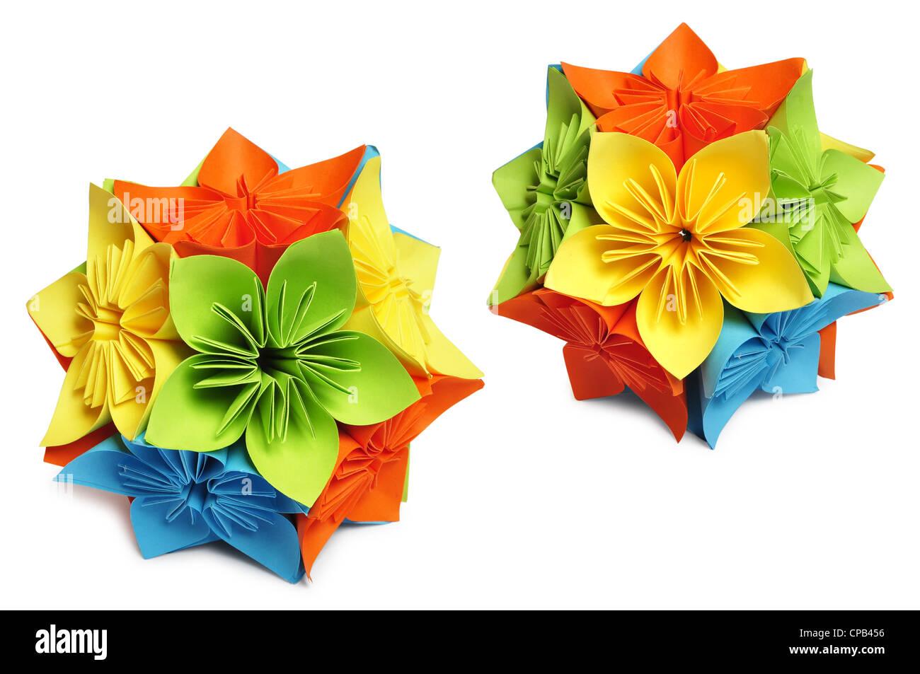 Classic royal kusudama colorful paper origami isolated on white classic royal kusudama colorful paper origami isolated on white jeuxipadfo Gallery