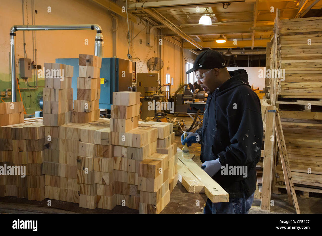 Workers Recycle Building Materials Salvaged From