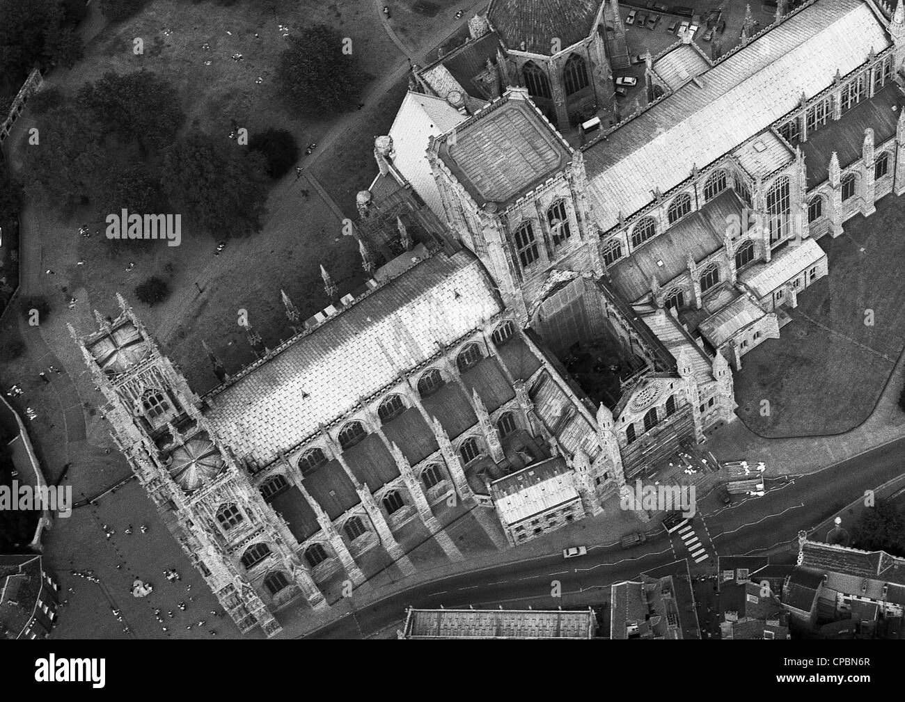 aerial view of york minster the day after the fire that