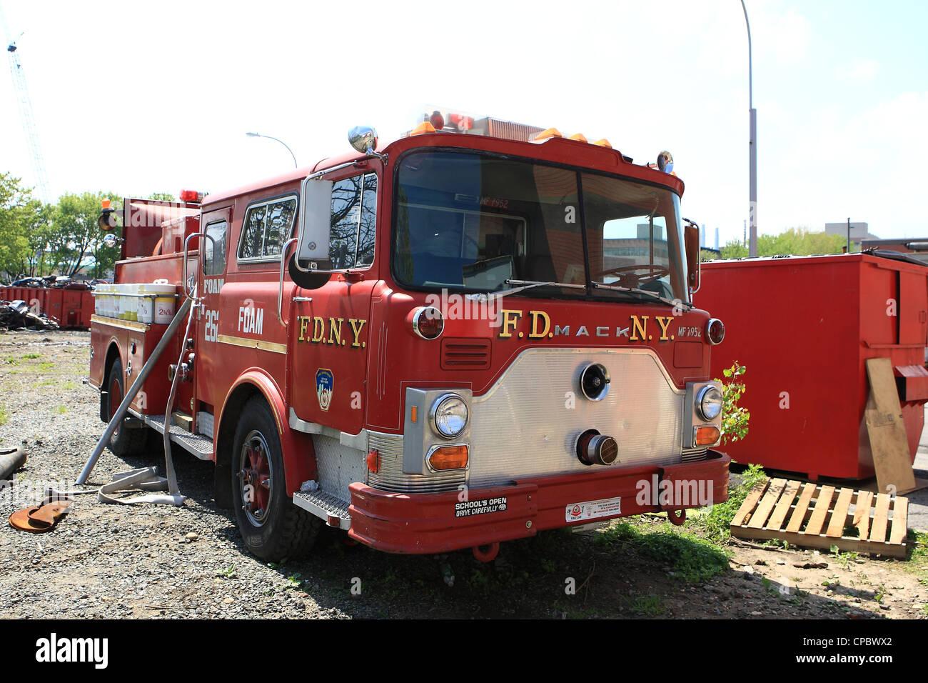 Old Mack Fire Trucks : Fdny old mack fire truck foam unit stock photo royalty