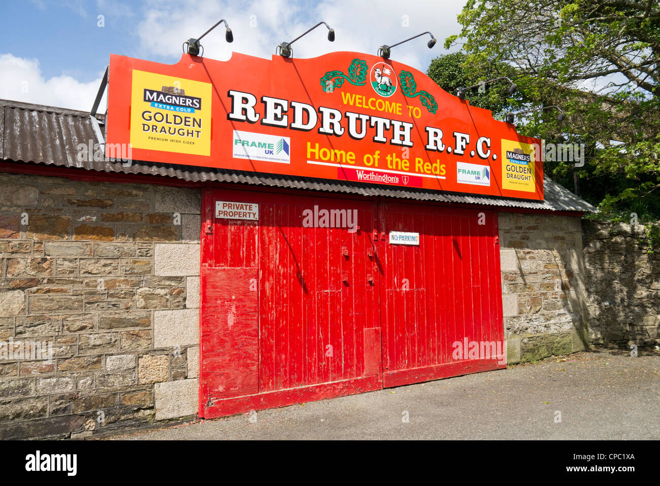 Redruth Rugby Football Club colourful red entrance doors Cornwall UK. & Redruth Rugby Football Club colourful red entrance doors Cornwall ... pezcame.com