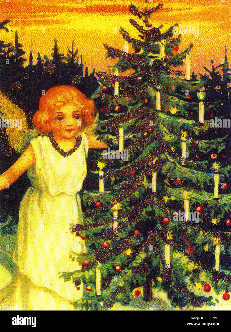 stock photo victorian christmas tree with angel - Victorian Christmas Trees