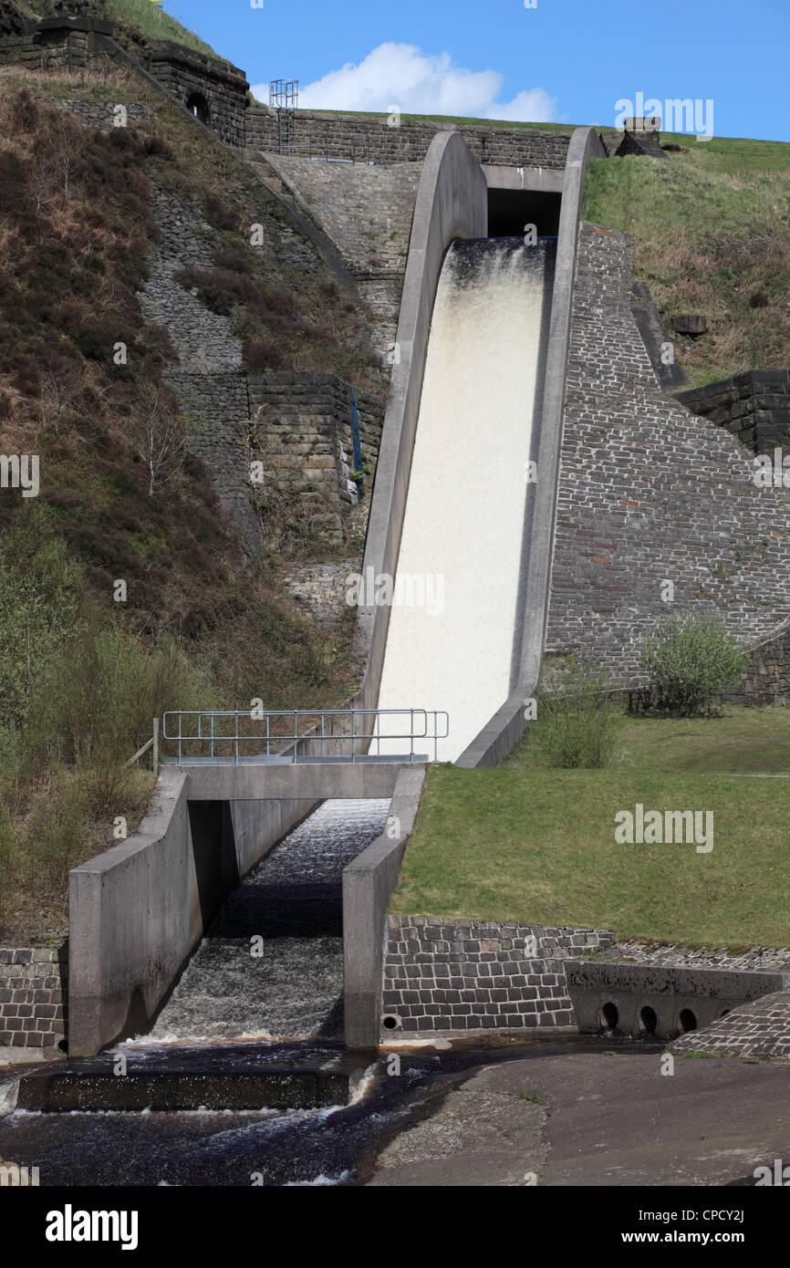 spillway or weir from woodhead to torside reservoir peak district