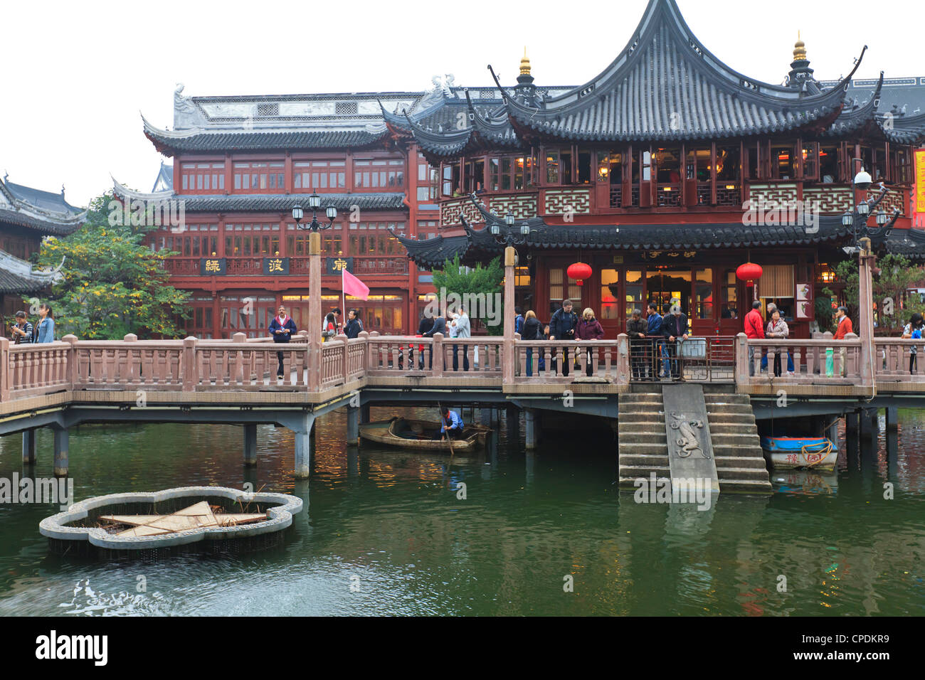 Hu Xing Ting Teahouse And Zigzag Bridge Of Nine Turnings, Yu Yuan (Yuyuan)  Bazaar, Shanghai, China, Asia