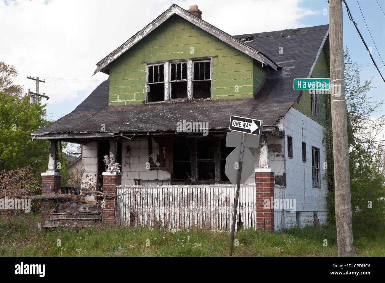 Abandoned Burned Out House In Detroit Michigan Stock