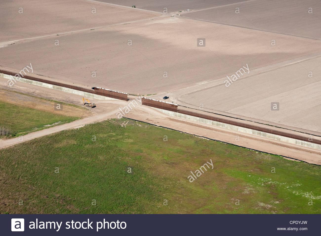 aerial of border wall fence hidalgo county lower rio grande valley texas