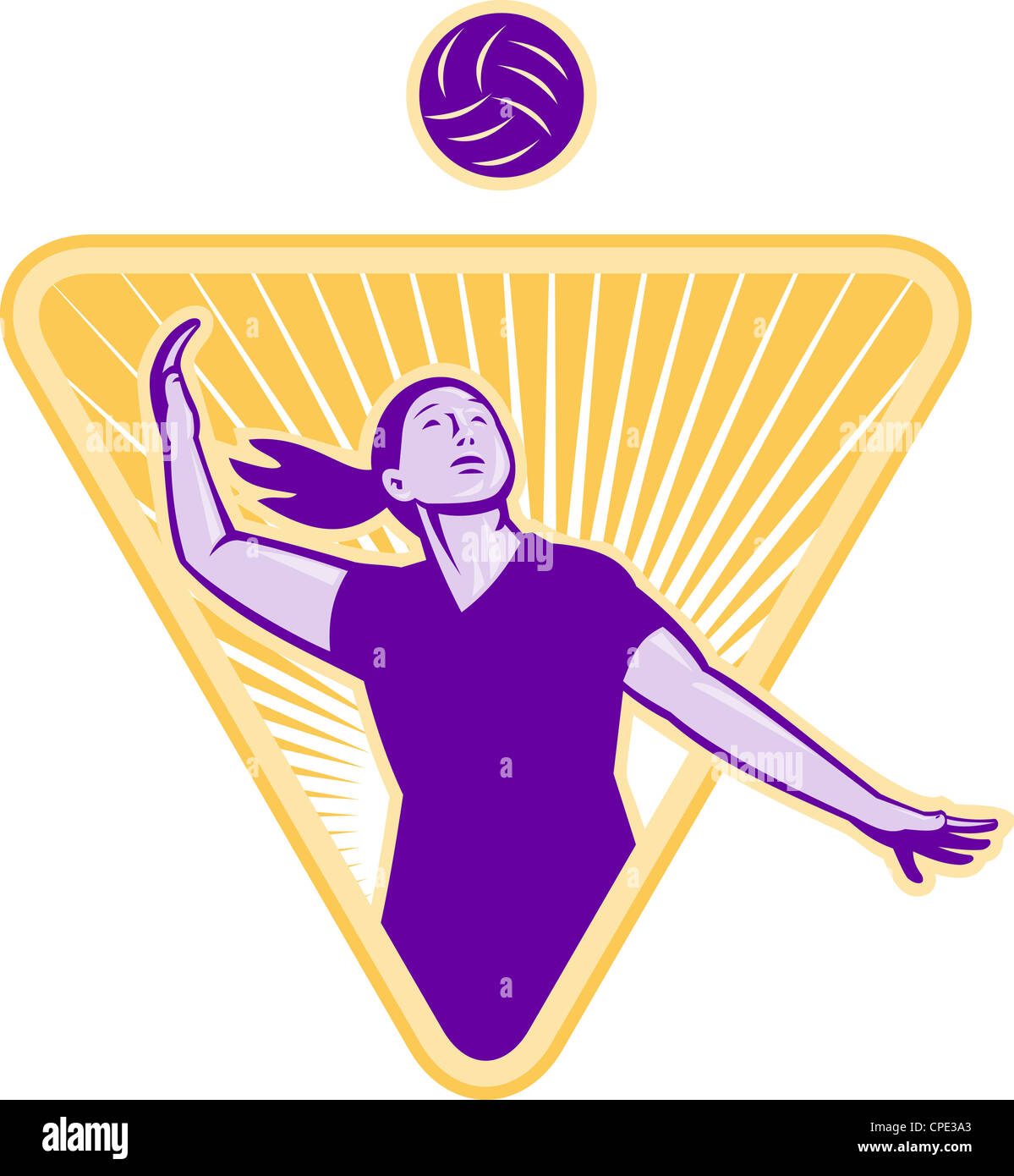 Illustration of a female volleyball player serving ball viewed illustration of a female volleyball player serving ball viewed from side set inside triangle shield buycottarizona