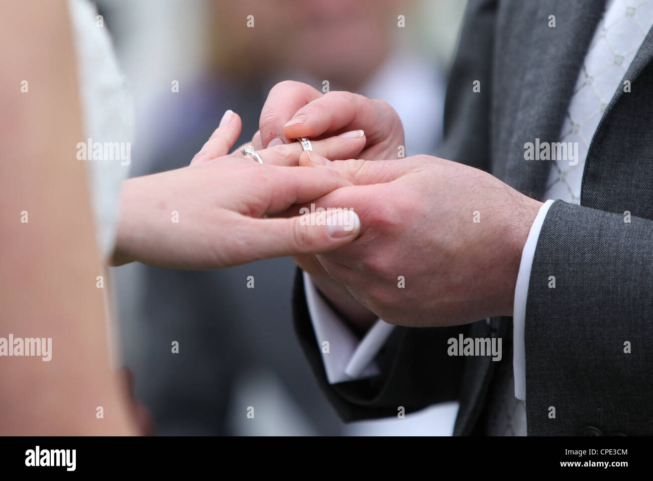 A couple exchange wedding rings during a marriage ceremony Picture