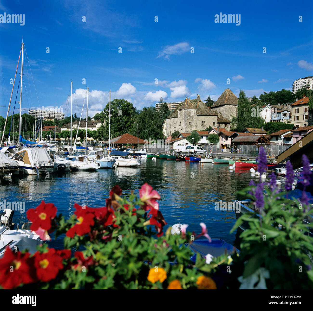 view over harbour thonon les bains lake geneva lac leman rhone stock photo royalty free. Black Bedroom Furniture Sets. Home Design Ideas